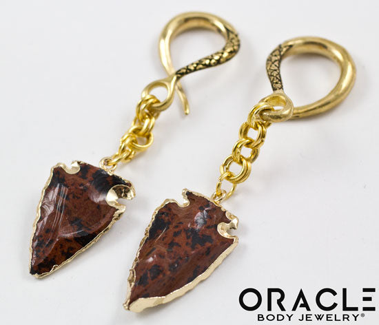 Crossover with Gold Plated Mahogany Obsidian Arrowheads