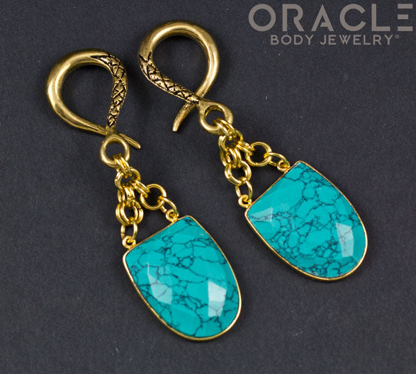 Crossover With Gold Plated Faceted Synthetic Green Spiderweb Turquoise