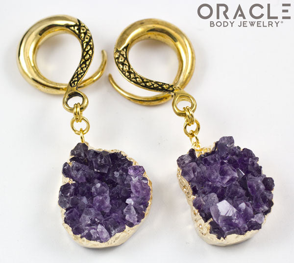 Crossover With Gold Plated Druzy Rough Amethyst