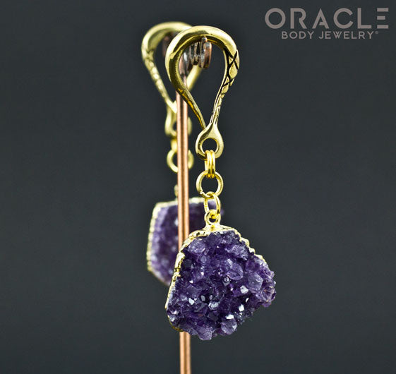 Crossover with 24k Gold Plated Druzy Rough Amethyst