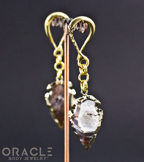 Crossover with Gold Plated Druzy Arrowheads