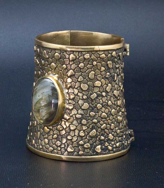 Crossover with 24k Gold Plated Fusted Ameythst and Quartz Crystal