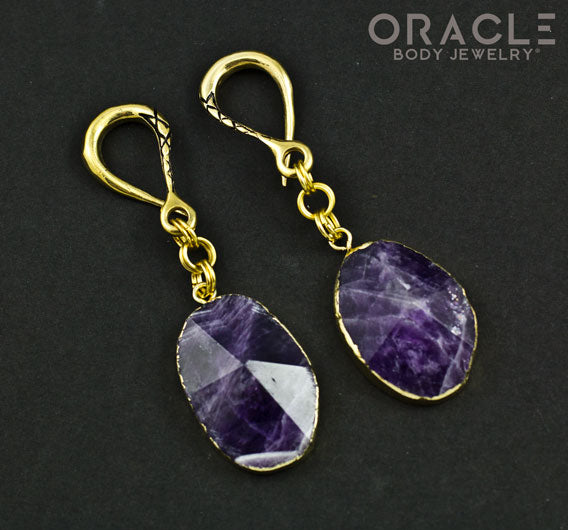 Crossover with Gold Plated Faceted Amethyst