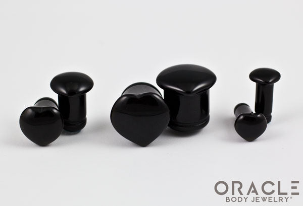 Single Flare Heart Front Black Onyx Plugs