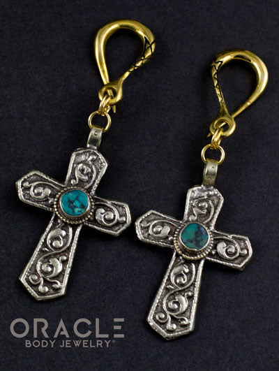 Crossover With Mixed Metal Crosses And Synthetic Turquoise