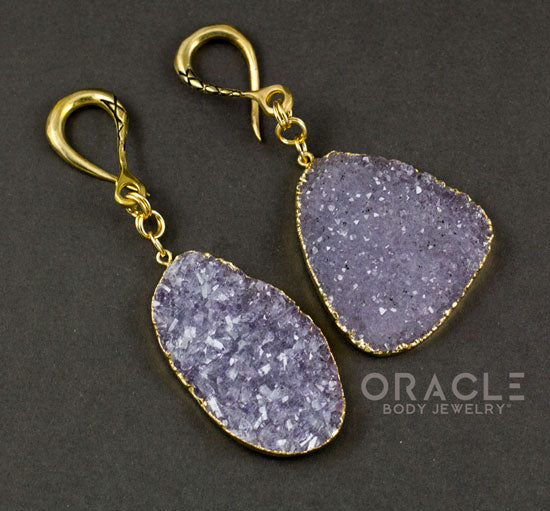 Crossover With Gold Plated Druzy Amethyst Clusters