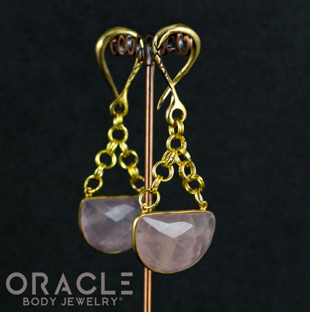 Crossover With Faceted Gold Plated Rose Quartz