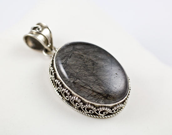 Sterling Silver Tourmalated Quartz Pendant