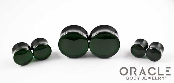 Emerald Dark Green Quartz Double Flare Plugs