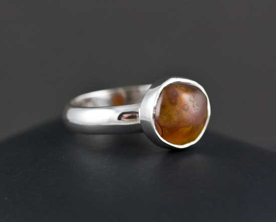Sterling Silver Fire Agate Ring Size 6