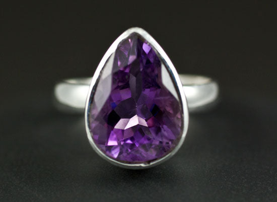 Sterling Silver Ring Amethyst Size 7