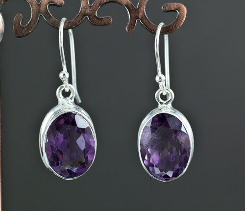 Sterling Silver Faceted Amethyst Earrings