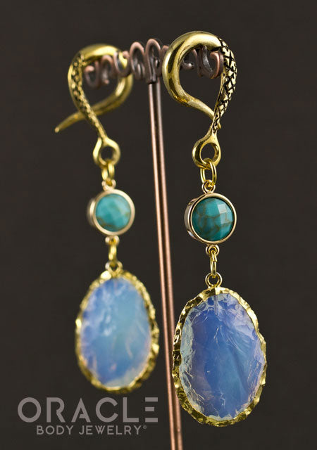 Crossover With Gold Plated Synthetic Turquoise and Opalite