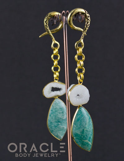 Crossover With Gold Plated Agate Geode and Amazonite