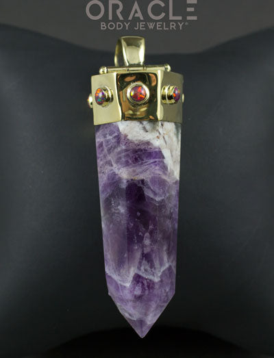 Zuul Pendant with Amethyst Point and Synthetic Black Opal Accents
