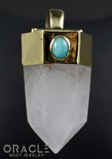 Zuul Pendant With Tourmalated Quartz Point and Amazonite Accents