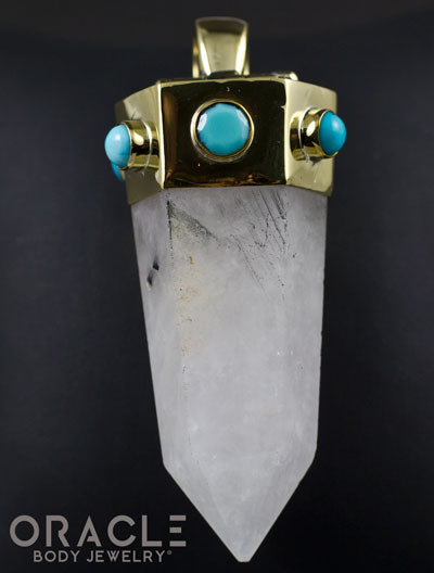 Zuul Pendant With Tourmalated Quartz Point and Turquoise Accents