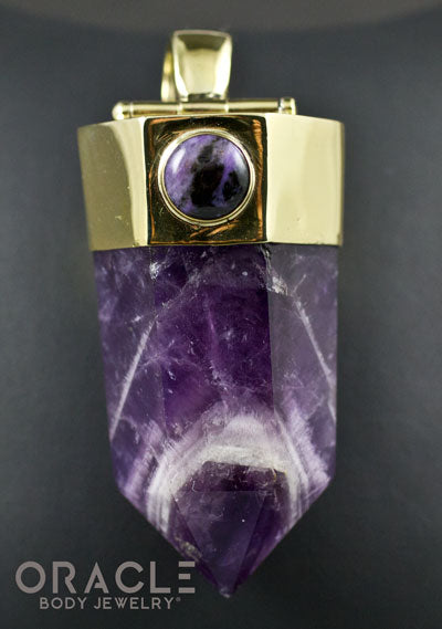 Zuul Pendant With Amethyst Point and Charoite and Tourmalated Quartz Accents