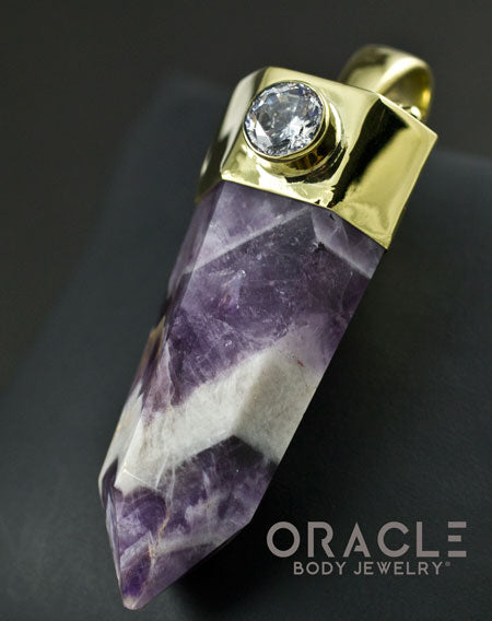 Zuul Pendant with Amethyst Point and Faceted CZ and Amethyst Accents