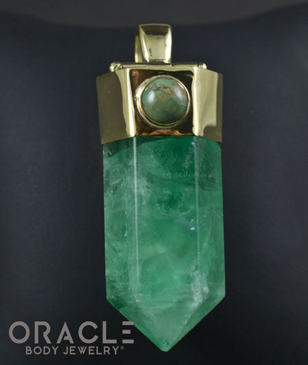 Zuul Pendant with Green Fluorite Point and Turquoise Accents