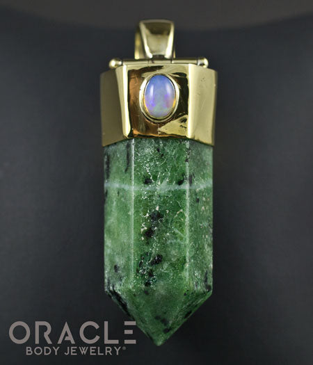 Zuul Pendant with Ruby In zoisite Point and Ethiopian Opal Accents