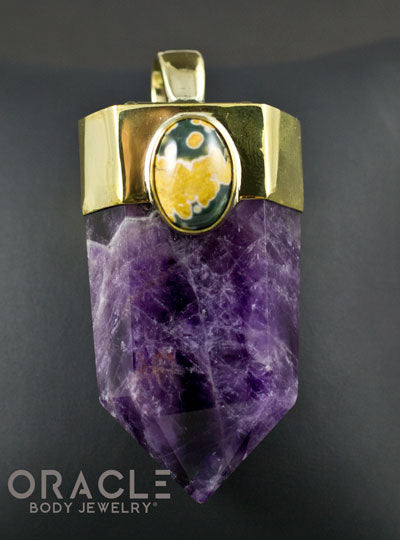 Zuul Pendant with Amethyst Point and Ocean Jasper and Amazonite Accents