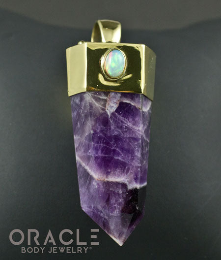 Zuul Pendant with Amethyst Point and Ethiopian Opal and Watermelon Tourmaline Accents