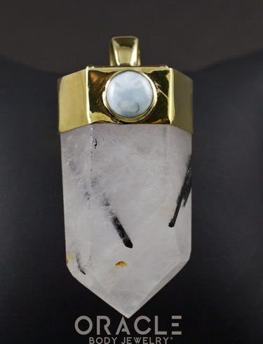 Zuul Pendant With Tourmalated Quartz Point and Larimar and Nephrite Jade Accents