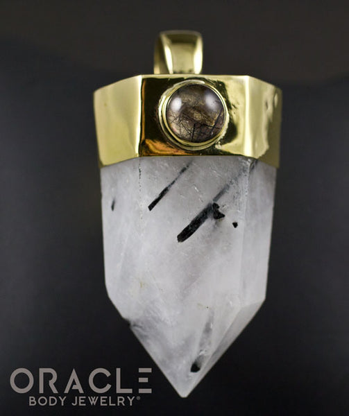 Zuul Pendant with Tourmalated Quartz Point and Tourmalated Quartz Cabochon Accents