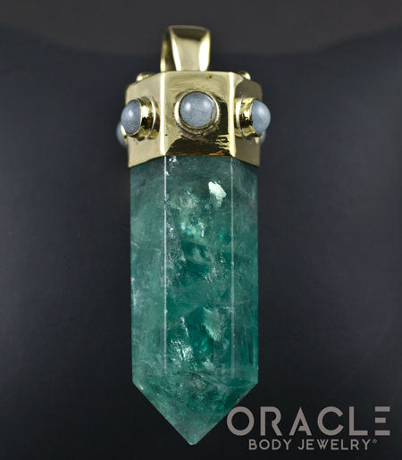 Zuul Pendant with Green Fluorite Points and Labradorite Accents