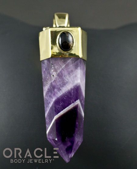 Zuul Pendant with amethyst Point and Copper Infused Obsidian Accents