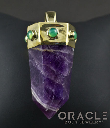 Zuul Pendant with Amethyst Point and Chrysoprase Accents