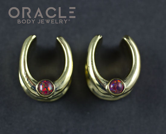 "1/2"" (12.5mm) Brass Saddles with Black Synthetic Opal"