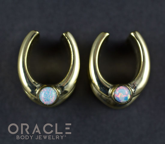 "1/2"" (12.5mm) Brass Saddles with White Synthetic Opal"