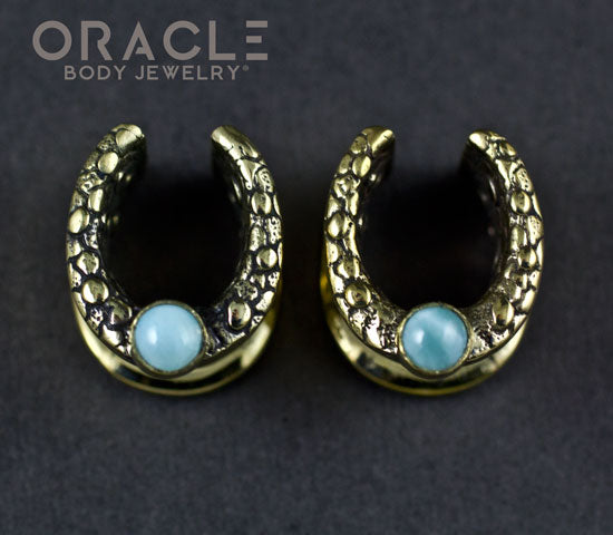 "1/2"" (12.5mm) Brass Saddles with Nugget Texture and Larimar"