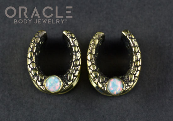 "1/2"" Brass Saddles with Nugget Texture and White Synthetic Opal"