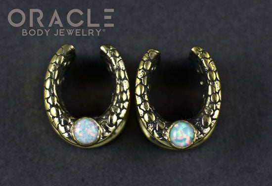 "1/2"" (12.5mm) Brass Saddles with Nugget Texture and White Synthetic Opals"