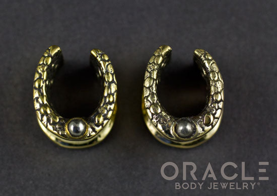 "1/2"" (12.5mm) Brass Saddles with Nugget Texture and Pyrite"