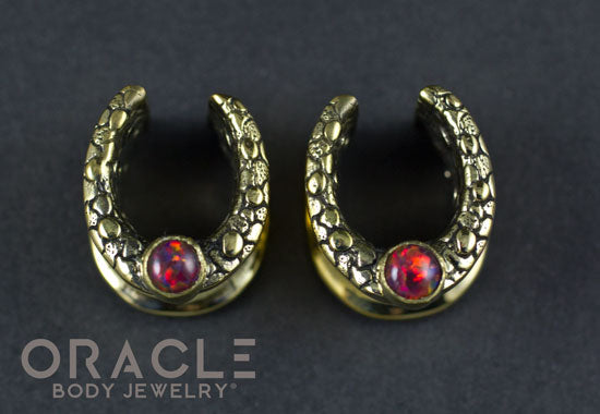 "1/2"" (12.5mm) Brass Saddles with Nugget Texture and Black Synthetic Opal"