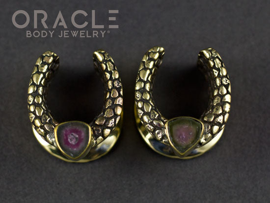 "5/8"" (16mm) Brass Saddles with Nugget Texture and Watermelon Tourmaline Slices"