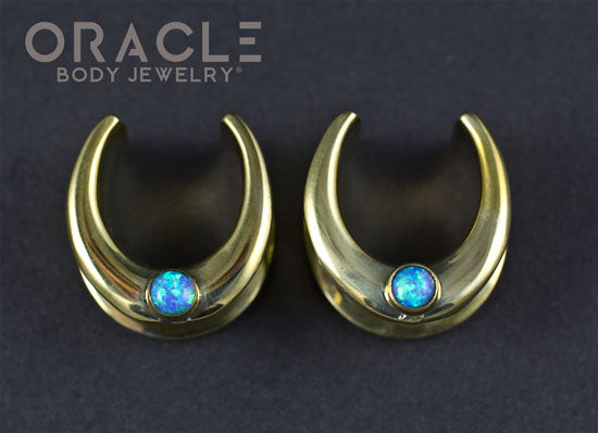 "5/8"" (16mm) Brass Saddles with Blue Synthetic Opal"
