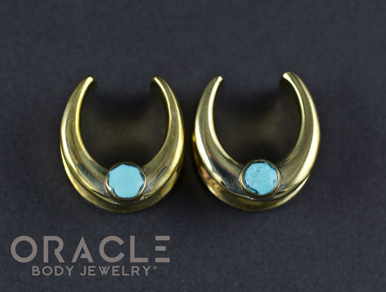 "5/8"" (16mm) Brass Saddles with Faceted Turquoise"