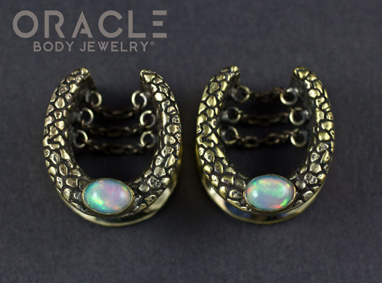 "3/4"" (19mm) Brass Saddles with Chains and Ethiopian Opals"