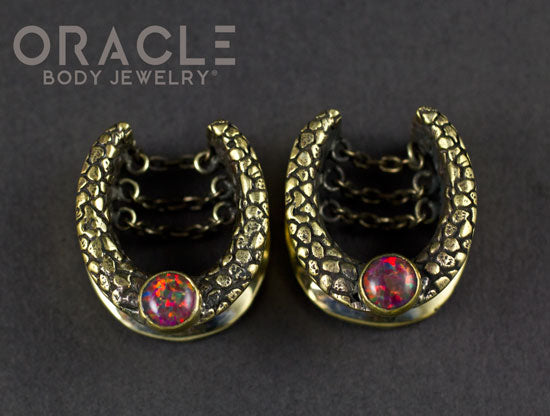 "3/4"" Brass Saddles with Chains and Black Synthetic Opals"