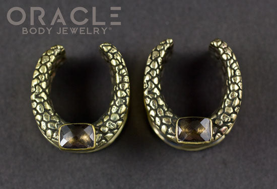 "3/4"" (19mm) Brass Saddles with Faceted Smoky Quartz"