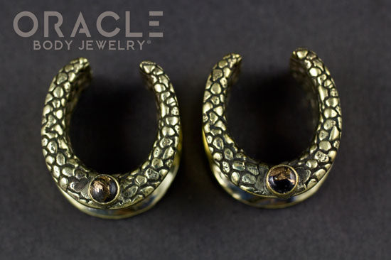 "3/4"" (19mm) Brass Saddles with Nugget Texture and Obsidian with Copper"