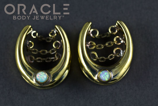 "3/4"" (19mm) Brass Saddles with Chains and Pink Synthetic Opals"