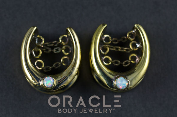 "3/4"" (19mm) Brass Saddles with Chains and White Synthetic Opals"