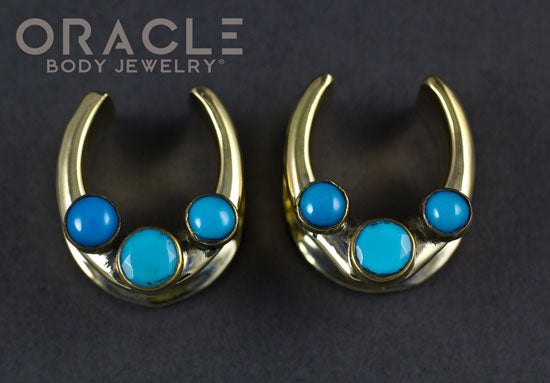 "3/4"" (19mm) Brass Saddles with Turquoise"