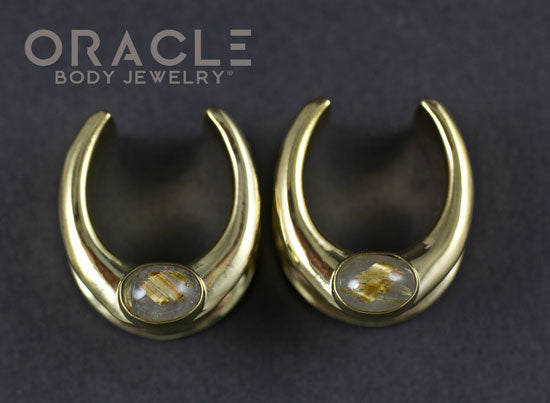 "3/4"" (19mm) Brass Saddles with Rutilated Quartz"